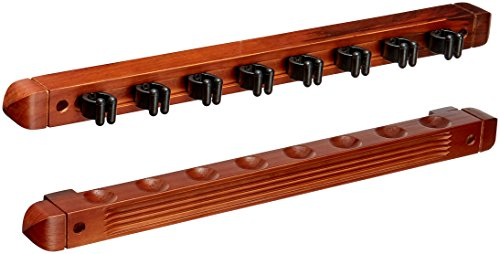 Hj Scott CR1125 8-Cue Wall Mount Billiard Cue Rack with Cue Clips, OW Mahogany