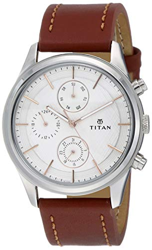 Mens White Dial Leather Multi-Function Watch - 185SL1