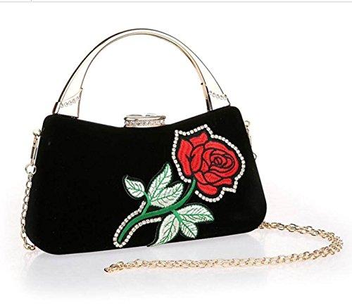 Novia Negro Embrague De De Bolsa Nuevos De Moda Flores Vestidos La De De Gshga Negro De Bolsas De Niñas Noche Mini Las Bolsos Hombro Bolsos Los f4wWIBqg