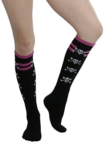 ToBeInStyle Women's Opaque Knee High Knit Socks with Skulls and Cross Bones (Pink Skull Knee Socks)