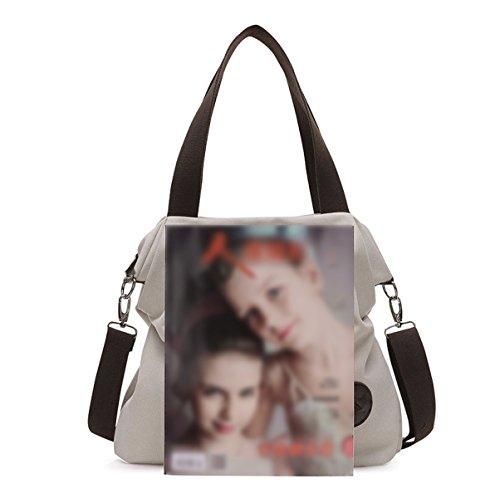 Mujer Europa Y Los Estados Unidos Nuevo Moda Simple Lienzo Solo Hombro Bolsa Diagonal Paquete Bolsa Grey