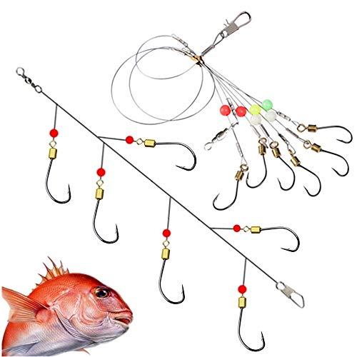 Fishing Hook Snelled Stainless Steel Wire Leader Fishing Rigs Hooks (cg-3 Pack, - 16 Net Cast 3