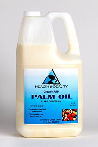 Palm Oil RBD Organic Refined Bleached Deodorized Cold Pressed by H&B OILS CENTER Premium Natural 100% Pure 128 oz, 7 LB, 1 gal