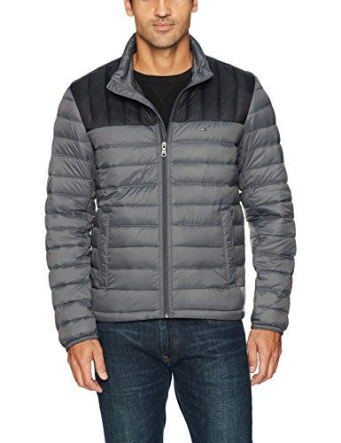 Tommy Hilfiger Men's Packable Down Jacket (Regular and Big & Tall Sizes), Black/Charcoal, XX-Large