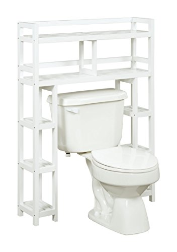 New Ridge Home Goods Dunnsville 2-Tier Space Saver with Side Storage, White by New Ridge Home Goods (Image #1)