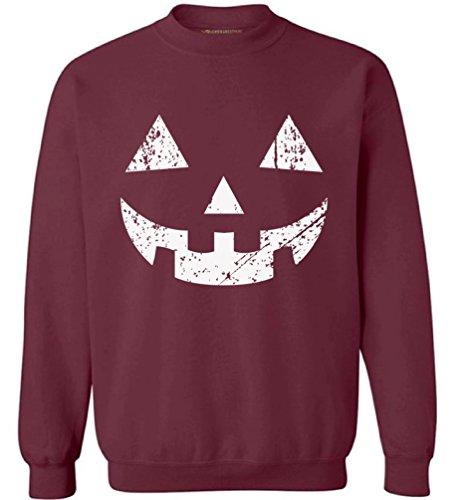 Awkward Styles Unisex Jack O' Halloween Pumpkin Sweatshirts Crewneck Halloween Easy Costume Idea Maroon M ()