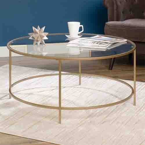 Cheap Round International Lux Coffee Table Clear Glass Top and Gold Finish Metal by Sauder