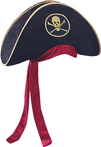 Women Halloween Fancy Dress Pirate Party Tricorn Deluxe Velvet Hat One Size
