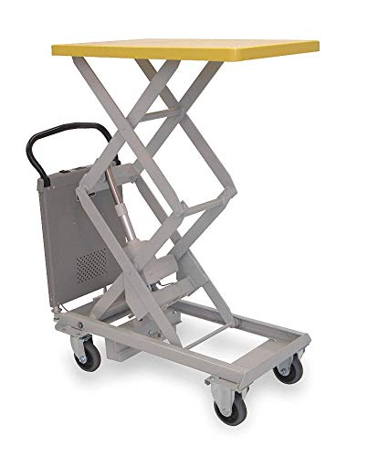 Mobile Electric Lift, Manual Push Scissor Lift Table, 220 lb. Load Capacity, Lifting Height Max. 51