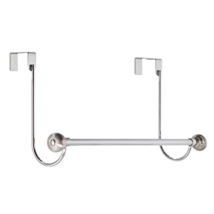 InterDesign York Over The Door Bath Towel Bar Holder Rack, Chrome/Stainless