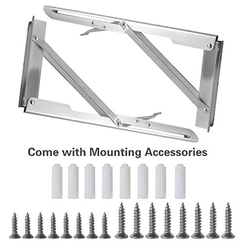 Folding Shelf Brackets 14 Inch CESHUMD Heavy Duty Stainless Steel Collapsible Wall Mounted Shelf Bracket Space Saving for Table Work Bench, 2pcs with Screws