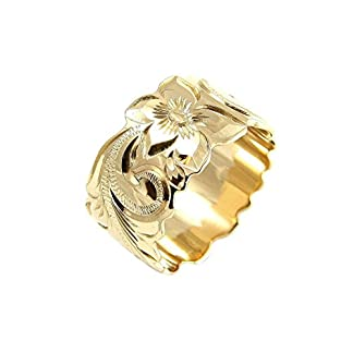 SOLID 14K YELLOW GOLD HAND ENGRAVED HAWAIIAN PRINCESS SCROLL BAND RING 2MM