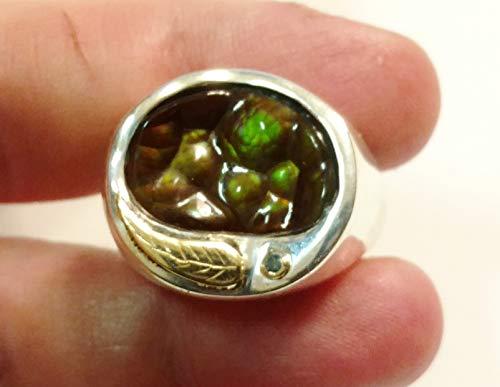 FIRE AGATE RING, Sterling Silver & 14k Gold, Sz 8.75, Handmade, ooak (Fire Deer Agate Creek)
