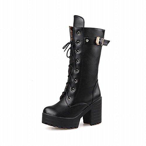 Carolbar Womens Fashion Rits Lace Up Gesp Platform Dikke Hoge Hak Martin Laarzen Zwart