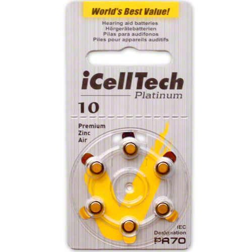 iCell Tech Size 10 Hearing Aid Batteries (120 batteries)
