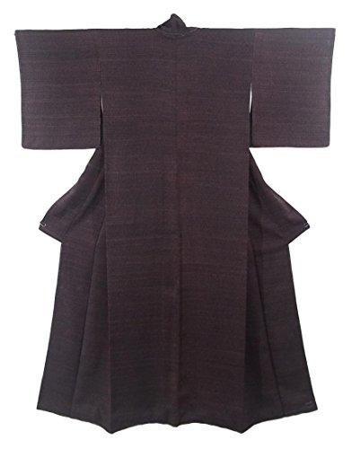 何か社会科コンテンポラリーリサイクル 着物 小紋 縞模様 正絹 袷 裄63cm 身丈166cm