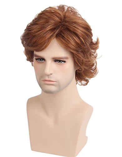 Topcosplay Short Layered Curly Cosplay Wigs Natural Looking Wig for Women Men (Female The Dude Costume)