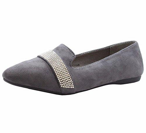 SAUTE STYLES Ladies Womens Flats Casual Slip on Ballet Loafers School Office Pumps Shoes Size 3-8 Dark Grey Flats SiNiresI