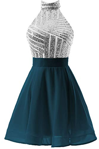 Teal Dress Homecoming (DYS Women's Short Halter Prom Party Dress Backless Homecoming Dress for Juniors Silver-Teal US 6)