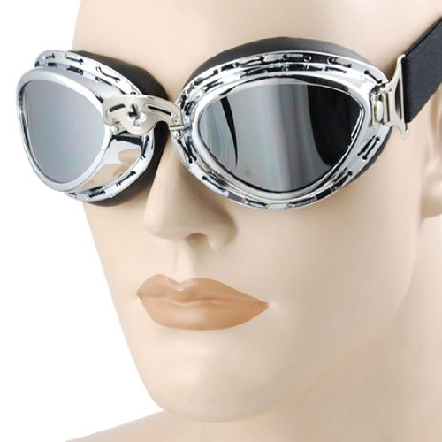 Vintage Style Military WWII RAF Pilot Mini Chrome Plated Frame Reflective Lens Adjustable Elastic Strap Padded Frost Free Unisex Men Women UV Goggles For Motorcycle BMX ATV Dirt Bike Biker Helmet Decoration Ice Ski Snowboard Cross Country Skiing
