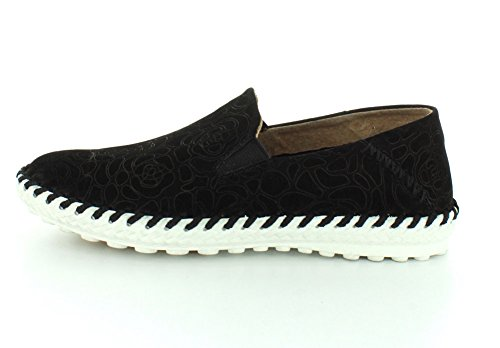 Bernie Mev Womens Tw 05 Mocassins Chaussures Noir Floral