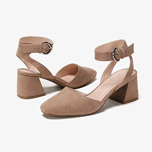 Décontracté Ruban brown Talons Femmes Personnalité Jane Carrée Chaussures DKFJKI Chaussures Élégant Hauts Simple Mary pour Tête qXZtxO