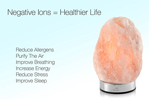 Asani Himalayan Light Salt Crystal Lamp (7-11 lbs, 8-10'' Height) WITH FREE GIFT BOX | Metal Dimmer Touch Base | Hand Crafted Ionic HPS Pink Rock Lamps for Natural Air Purifying and Lighting by Asani (Image #5)'