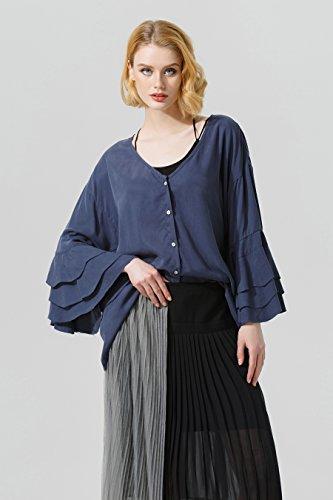 YOU.U Top mujeres con botones, manga de mariposa ondulada / manguito de llamarada, camiseta de cuello V, tamaño libre Azul