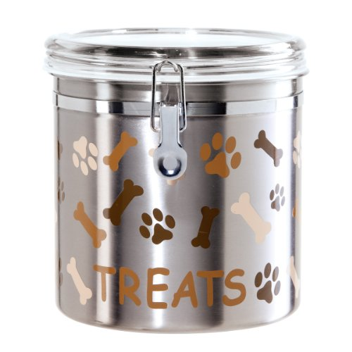Oggi Airtight Stainless Steel 130-Ounce Pet Treat Canister with Treats, Paws and Bones Motif-Clear Acrylic Flip-Top Lid with Locking Clamp Closure ()