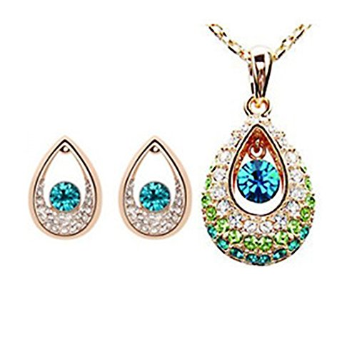 YIN E FANG Tianzhu Princess Austrian crystal necklace earrings fashion jewelry set -