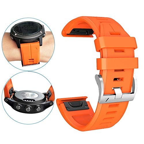 for Fenix 5X Plus Watch Band,YOOSIDE 26mm Quick Fit Silicone Sport Waterproof Replacement Watch Band Strap for Garmin Fenix 5X/5X Plus /D2 Charlie/Fenix3/3 HR/Quatix 3/Tactix Bravo - Charlie Band