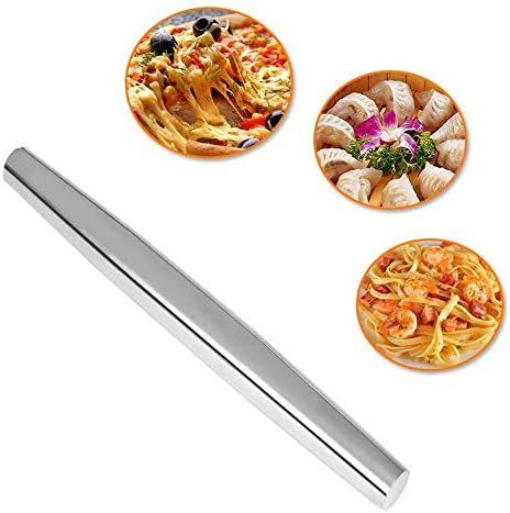 Bestcool Roestvrijstalen Deegroller Deegroller voor Bakken Deegroller met Nonstick Deegroller 32cm voor Bakker Gebak Koekjes Pizza Zilver