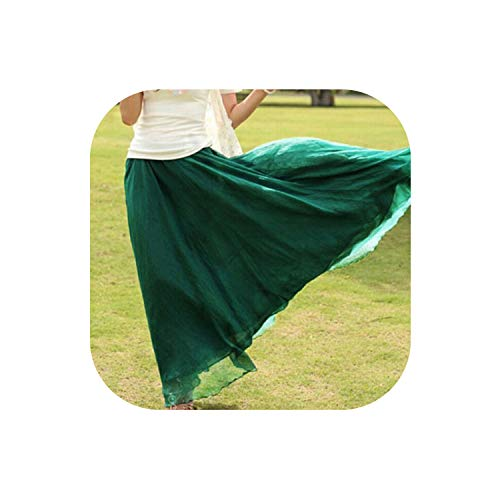 Maxi Skirts Women Summer Double Layer Chiffon Pleated Long Maxi Skirt Elastic Waist Skirts,J