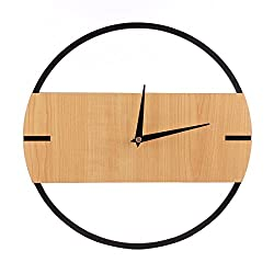 Fcoson Modern Decorative Round Wall Clock 11.8 Inch Wood Silent Non-ticking Wall Clock for Office Living Room Kitchen Bedroom