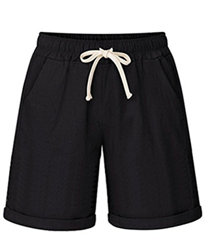 Vcansion Women's Summer Mid Length Loose Cotton Knit Bermuda Shorts Black US 16-18/Asian 5XL ()