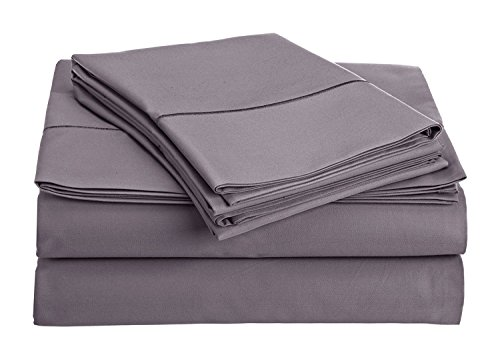 Set Plum (Thread Spread True Luxury 100% Egyptian Cotton - Genuine 1000 Thread Count 4 Piece Sheet Sets - Fits Mattress Upto 18'' Deep Pocket (King, Plum))