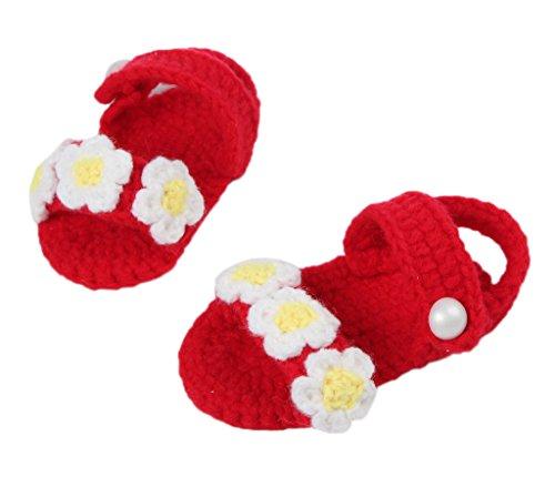 Bigood Strick Schuh Baby Unisex Strickschuh One Size süße Muster 11cm Blüte Deko Rot