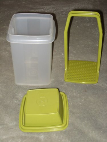 Vintage Tupperware - Clear w/ Green Lid Pick a Deli - Pickles / Olive 3 Piece Storage Container - 7 1/2 Inches High By 3 3/4 Inches Wide