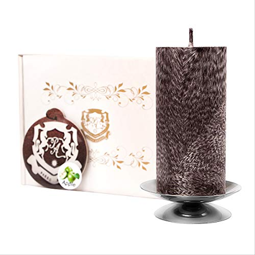 Passo Avanti Premium Candle Set 100% Natural Palm Wax, Decorative Pillar, 4 inch. Height, 50-60 Hours of Burning Best Gift for Her/Him Unscented Black Marble Candle and Silver Candlestick + The Gift