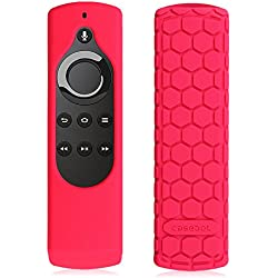 Fintie CaseBot Silicone Case for Amazon Fire TV Stick Voice Remote, Compatible with Amazon Echo / Echo Dot Alexa Voice Remote - Honey Comb Series [Anti Slip] Shock Proof Cover, Magenta