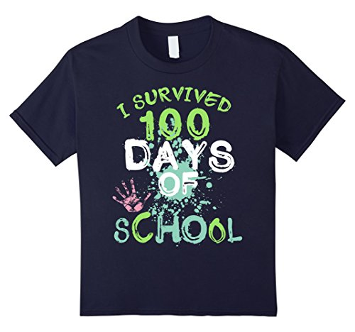 Kids I Survived 100 Days of School - Funny Front & Back T-Shirt 6 Navy