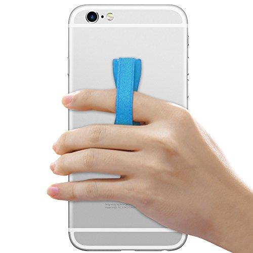 Cadorabo - Sling Grip Dedo Soporte para Smartphones / Tablets / iPod / eReader - Elastic Holder Strap Banda Tira Agarre Mano Correa de Dedo en NEGRO AZUL-CLARO