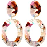 LEGITTA Resin Hoop Earrings Acrylic Oval Dangle Ear Drops Multi Colors Fashion Statement Jewelry for Women L109C