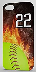Softball In Flames Sports Fan Player Number 22 Black Plastic Decorative iPhone 6 Case by icecream design