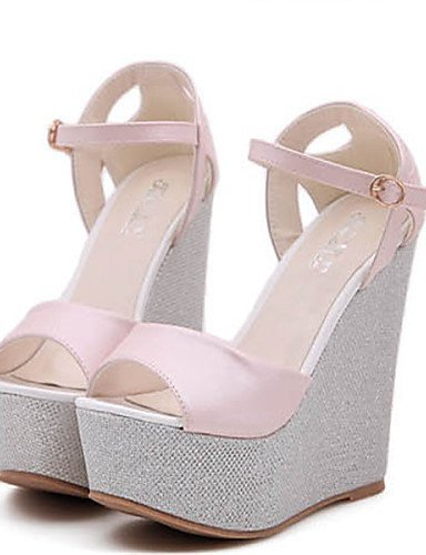 ShangYi Womens Shoes Wedge Heel Wedges/Peep Toe Sandals Casual Pink/White  Pink