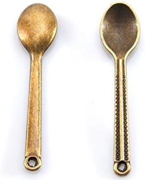 ミニ スプーンチャーム 5個セット アンティークゴールド 金古美 カトラリー パーツ