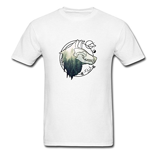 Renting Mystic Animal Forest American Native Wolf Totem Skull Art t Shirt For Men Cute Cotton Tee Short Sleeve Size S White