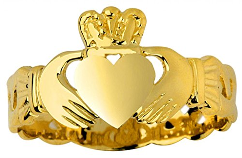Ladies 14k Gold Claddagh Ring with Trinity Band (7.25) by Claddagh Rings (Image #2)