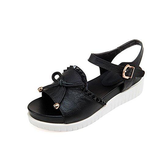 AllhqFashion Womens Cow Leather Assorted Color Buckle Open Toe Kitten Heels Sandals Black 4zkhTNVzN