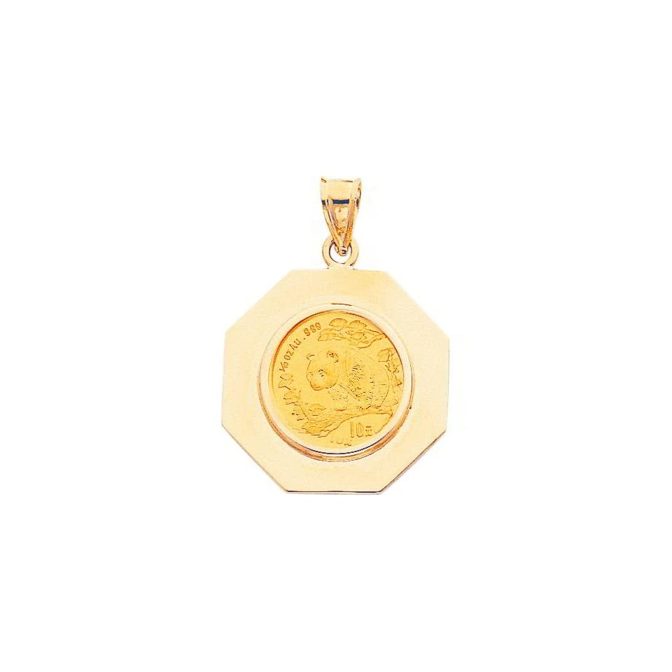 14K Yellow Gold 1/10oz Chinese Panda Coin & Bezel A